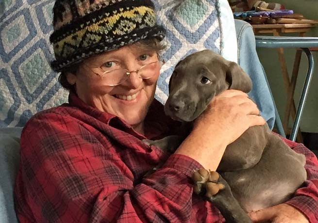 Virginia Moore with dog